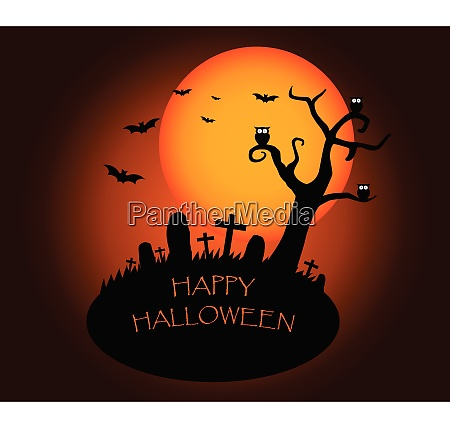 halloween background with silhouettes of graveyard