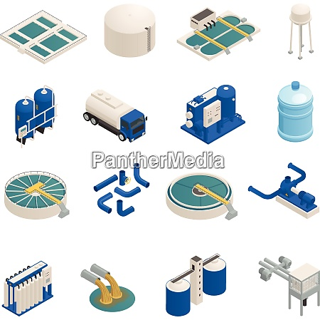 water purification technology elements isometric icons