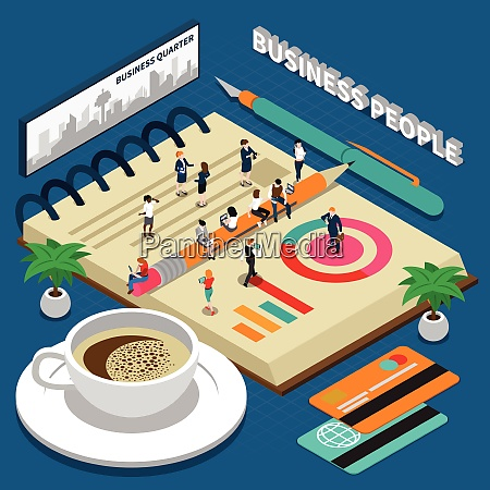 miniature isometric concept with business people