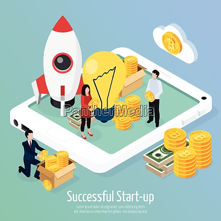 cryptocurrency successful startup isometric composition on