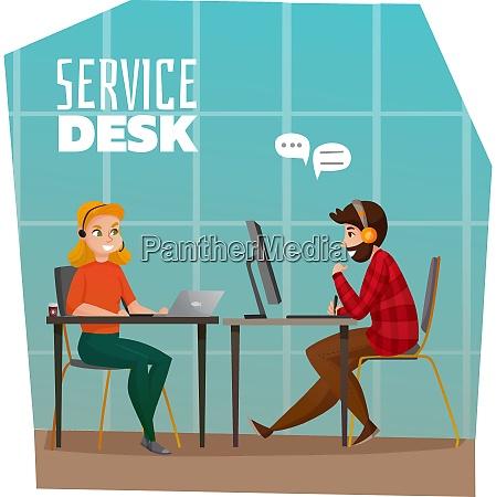 service desk design concept with male