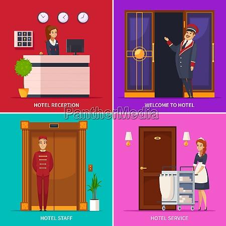 hotel service 2x2 design concept set