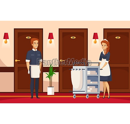 hotel staff cartoon composition with cleaner