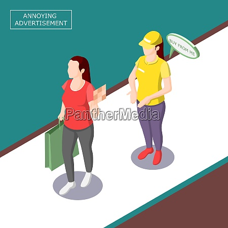 intrusive annoying advertisement isometric background with