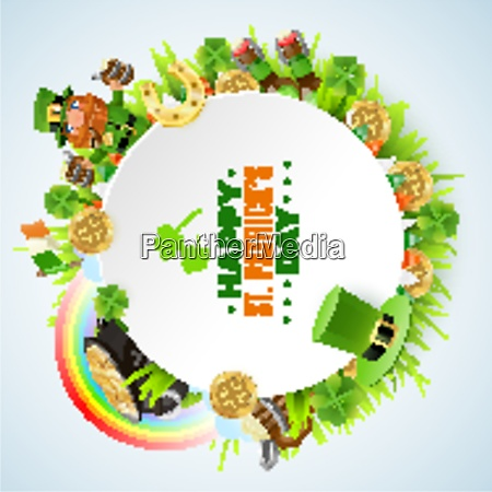 saint patricks day round frame with