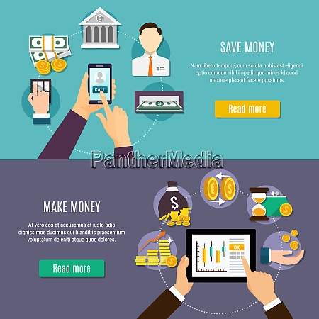 money flat colored banner set with