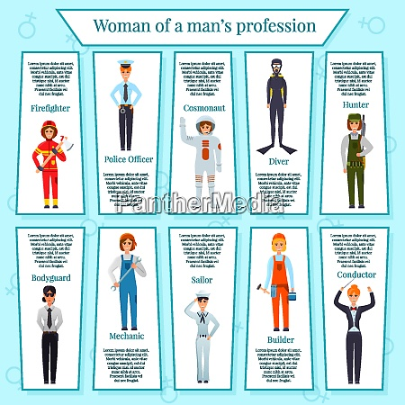 woman professions infographics with female characters