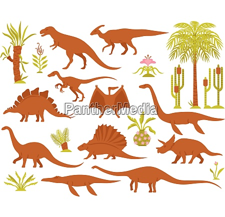 dino mesozoic era flora set with