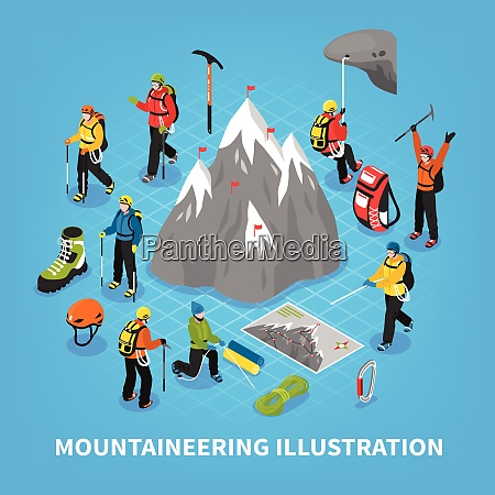 mountaineering isometric vector illustration with snow