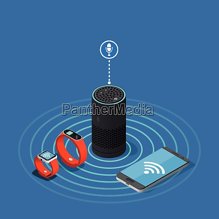 internet of things isometric composition on