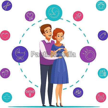 pregnancy cartoon composition on white background