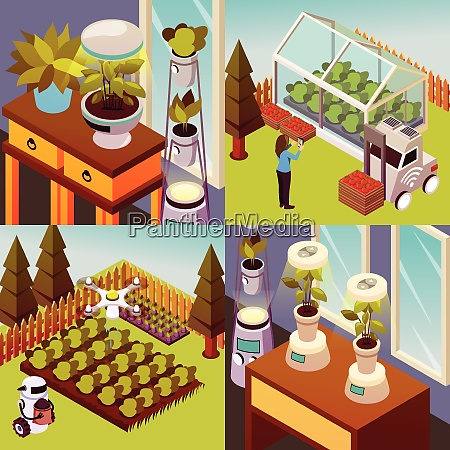 agricultural robots isometric 2x2 design concept