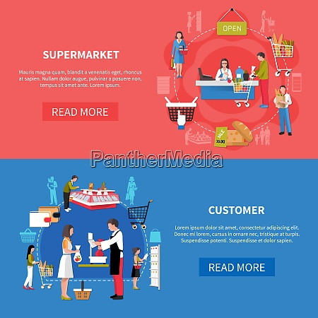 supermarket banners on blue red background