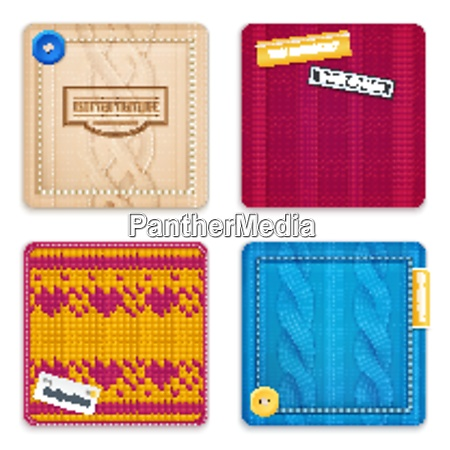 realistic knitted patterns concept 4 square