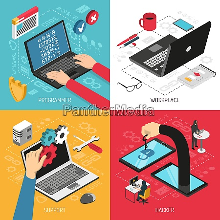 programmer work 4 isometric icons concept