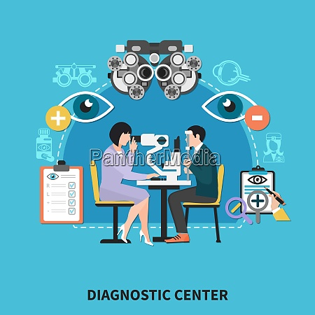ophthalmology diagnostic center flat poster with