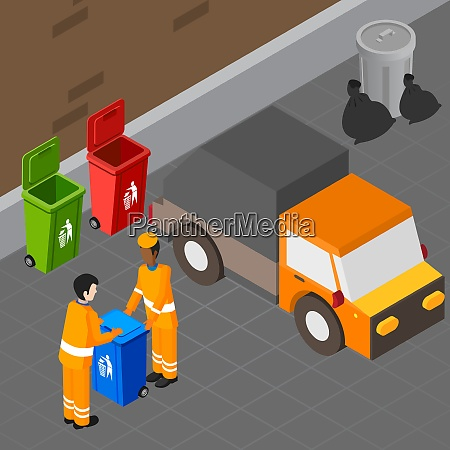 garbage isometric composition with two human