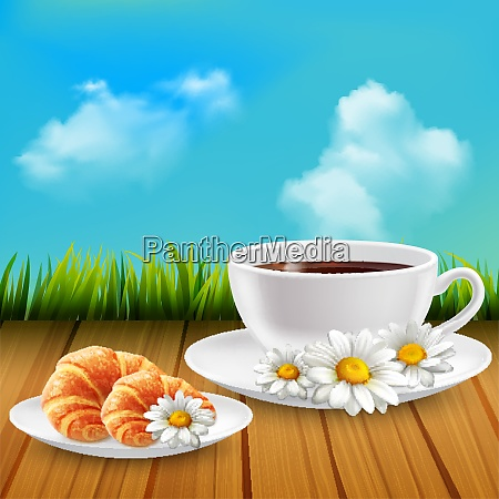 daisy realistic breakfast composition with cup