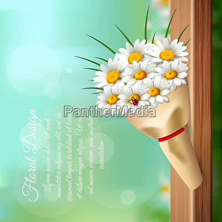 daisy realistic gentle composition with bouquet