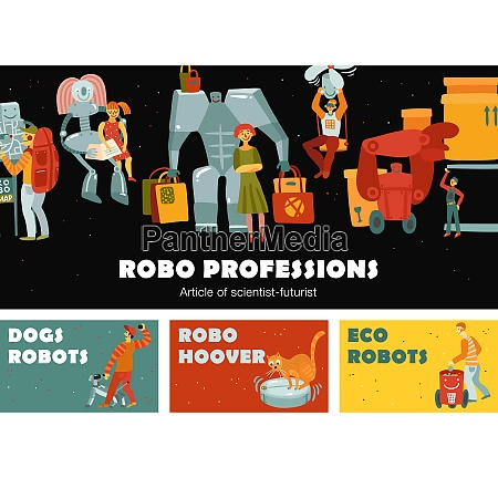 robots set of horizontal banners with
