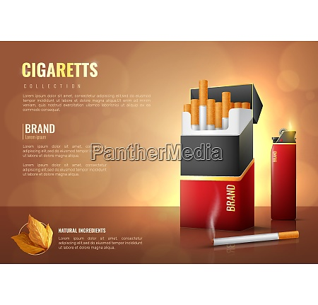 tobacco products realistic poster with cigarettes
