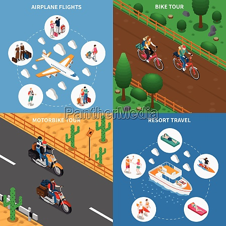 traveling people isometric design concept with