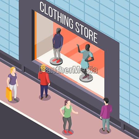showcase of fashion clothing store with