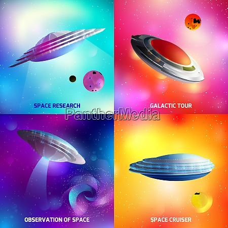 design concept with alien spaceship during