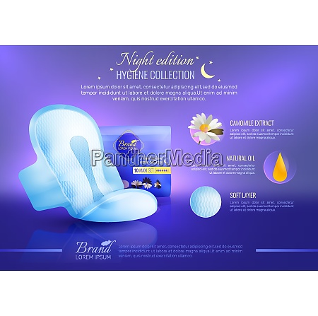 lady hygiene realistic poster with pads