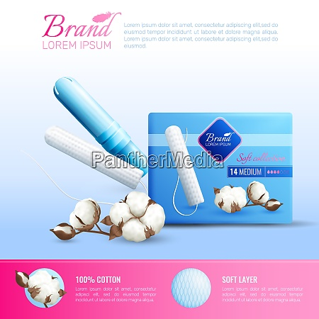 feminine hygiene realistic poster with tampons
