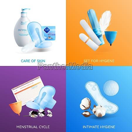 feminine hygiene realistic concept icons set