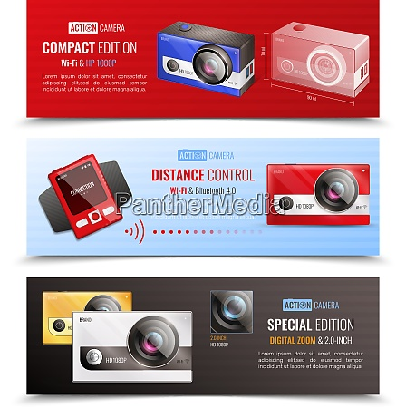 action camera horizontal banners set with