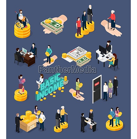 social security icons set with unemployment