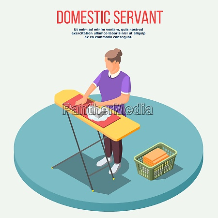 housemaid isometric composition with woman during
