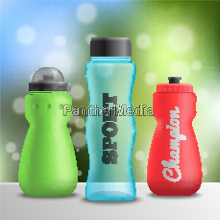 fitness bottles realistic composition of three
