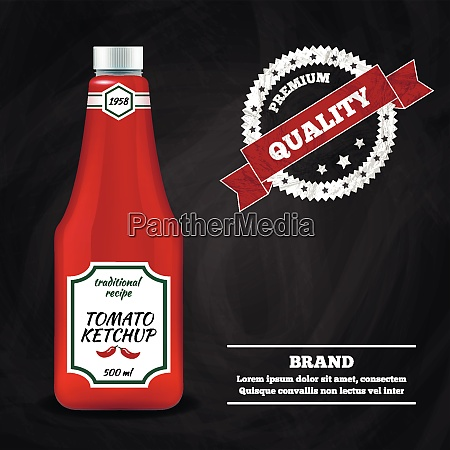 tomato ketchup sauce bottle realistic advertisement