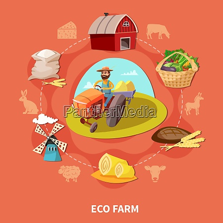 farm cartoon colored composition with eco