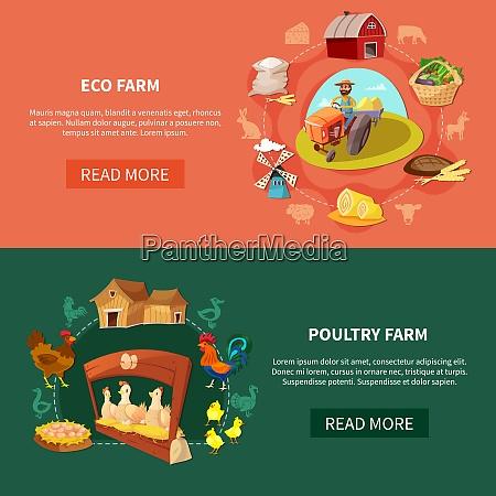 two horizontal farm cartoon banner set