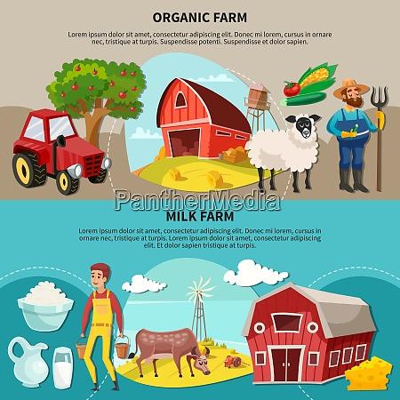 two horizontal farm cartoon composition set