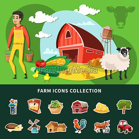 colored cartoon farm composition with isolated