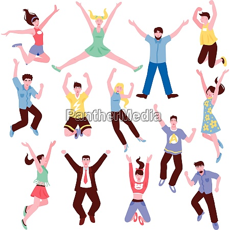 jumping people set with isolated flat