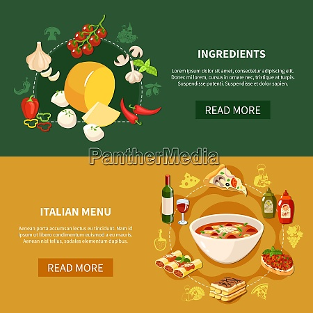 italian food horizontal banners with ingredients