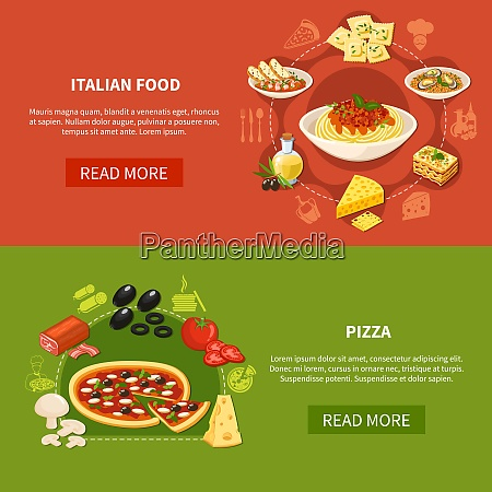 italian cuisine horizontal banners with set