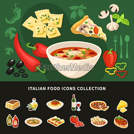 italian food icons collection of national