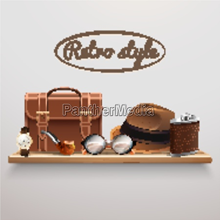 retro style gentleman accessories on wooden