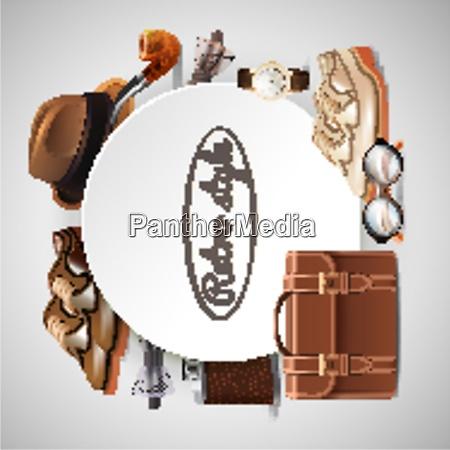 retro gentleman accessories round frame with