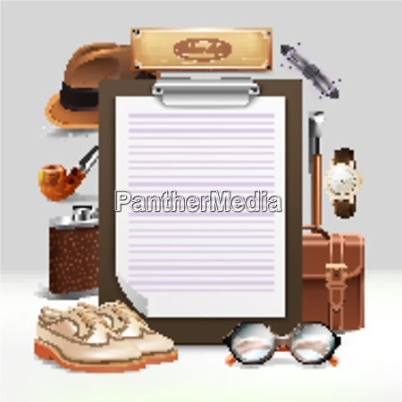 classic retro gentleman accessories realistic clipboard