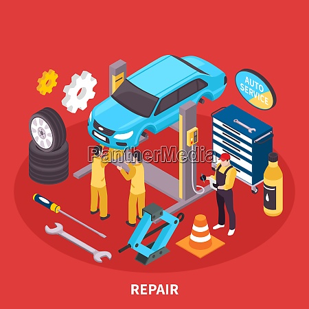 auto service isometric concept with repair