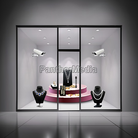 two surveillance cameras in jewellery shop