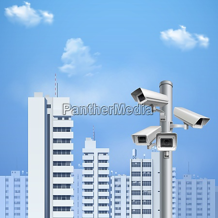security system surveillance cameras on background